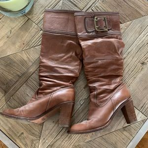 Women's Leather Slouch Coach Boots